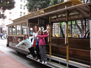 Riding on the cable car