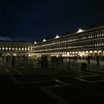 St. Mark's Square is beautiful at night, if you can ignore the flashing lights from hawkers trying to sell you light-up toys