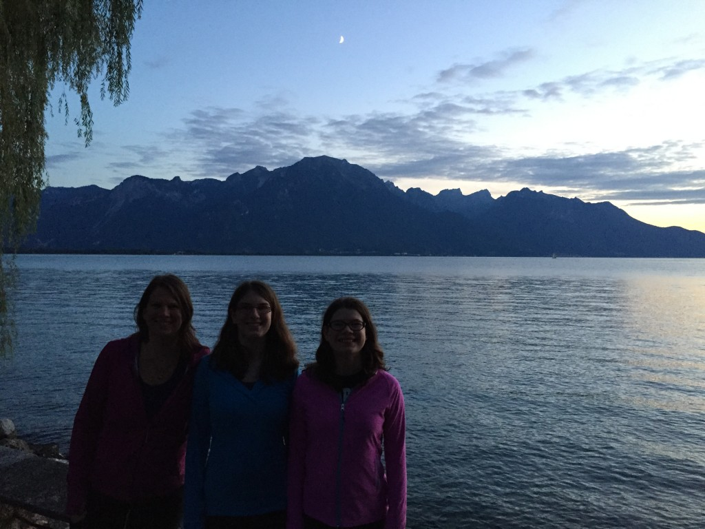 Out for an evening walk along Lake Geneva after arriving in Montreux