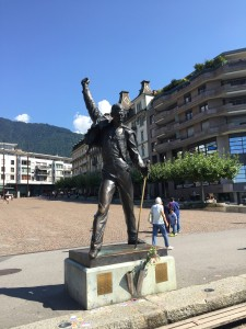 The popular statue of Freddie Mercury on the shores of Lake Geneva in Montreux