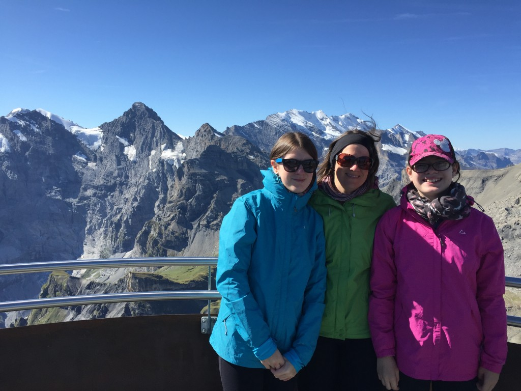 The view from the top of the Schilthorn, where it was about 10°C. We were very fortunate with the weather