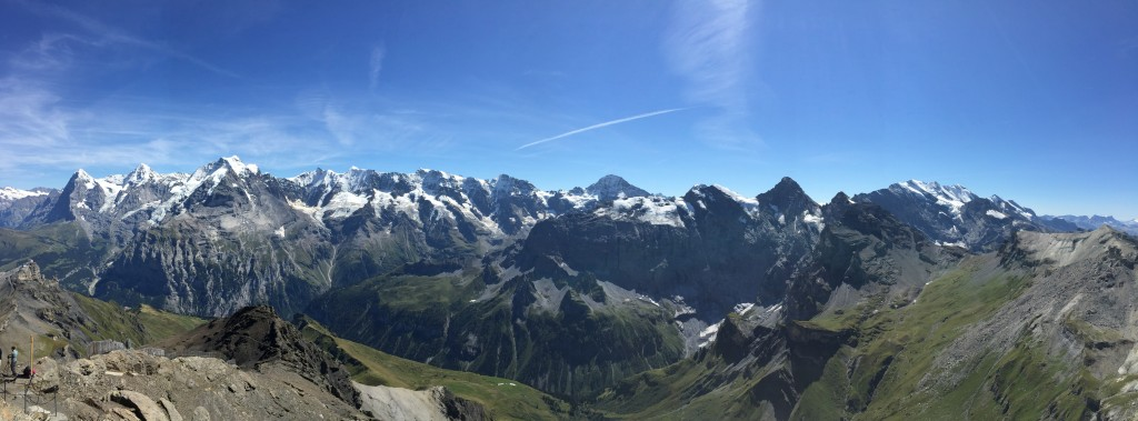 Panoramic view of the alps on a spectacular day