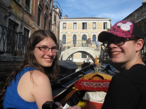 We decided to splurge on a gondola ride. Rachel and I had the 'love seats', but the girls had the better view...