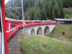 On several portions of the route the train makes tight curves like this over bridges or through tunnels