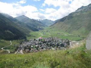 Coming into the valley town of Andermatt