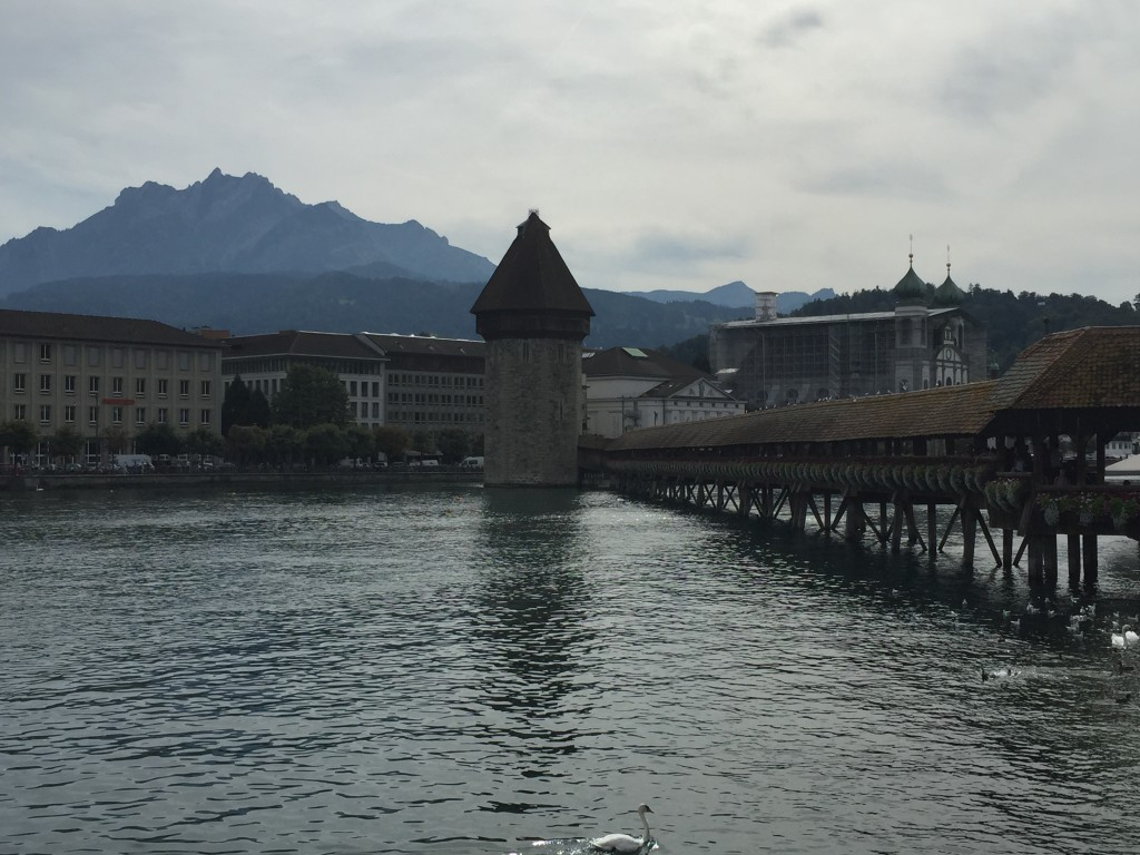 Chapel Bridge, with Mount Pilatus in the distance