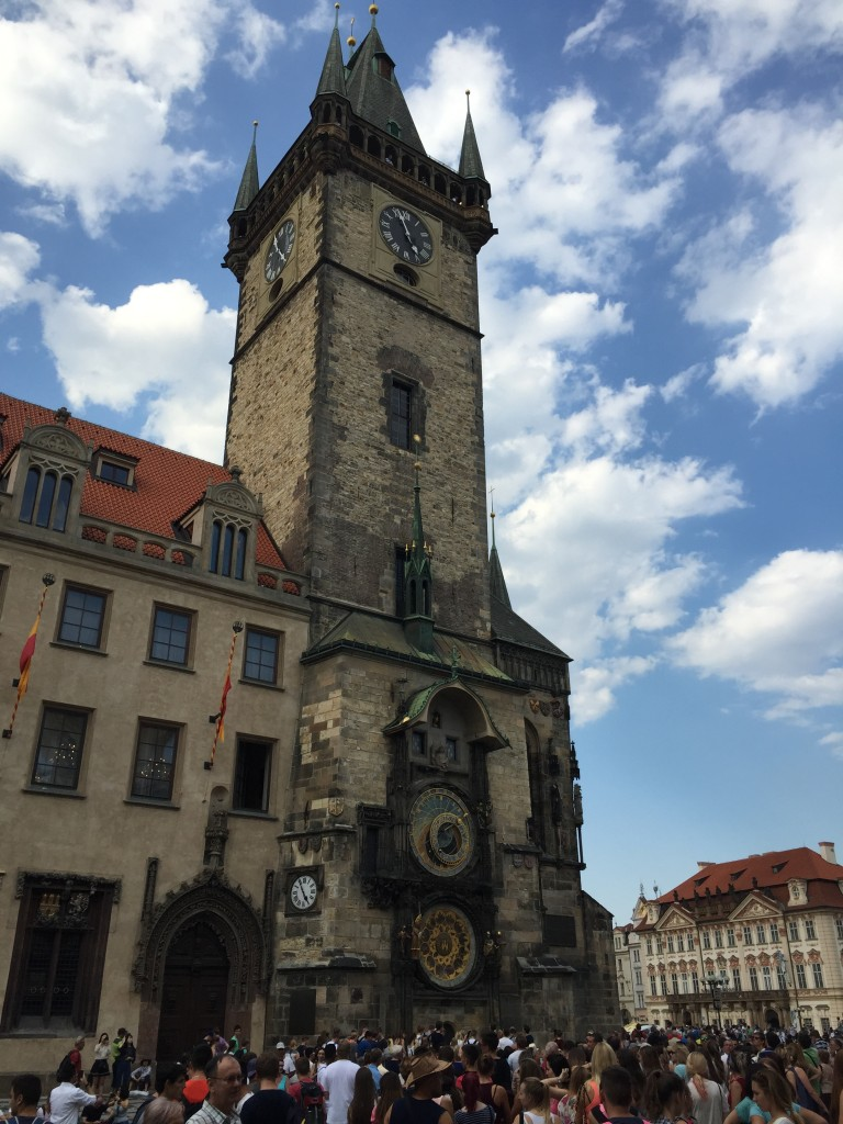 The old town square, with the elaborate and weird astronomical clock