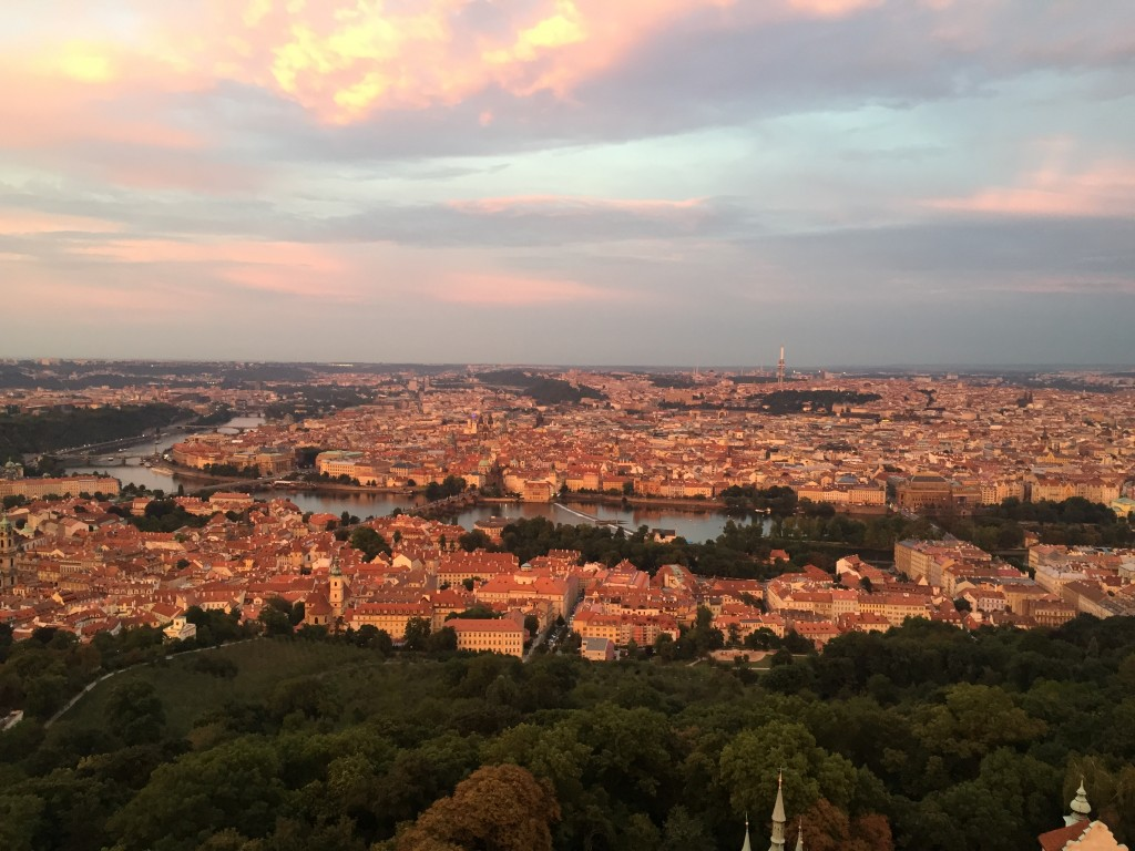 Prague at sunset, from Petřín hill