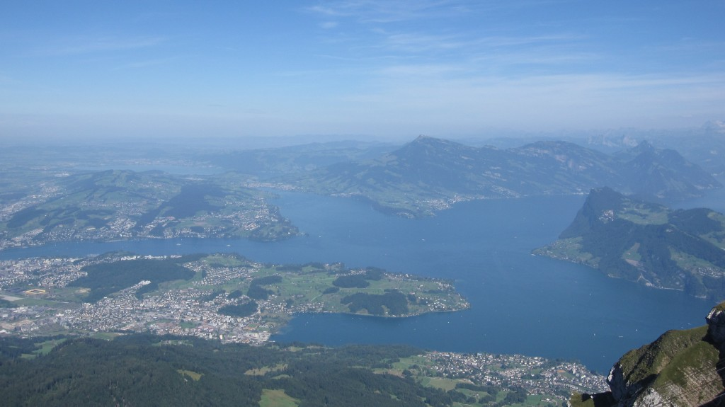 The view of Lake Lucerne from the top of Mount Pilatus