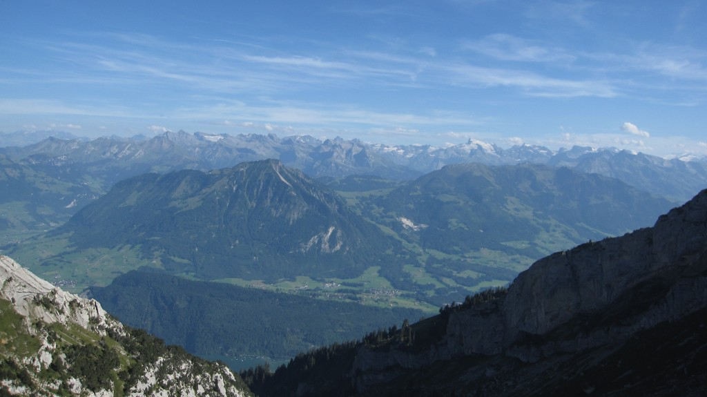 Great view of the Swiss Alps looking Southwest from Mount Pilatus