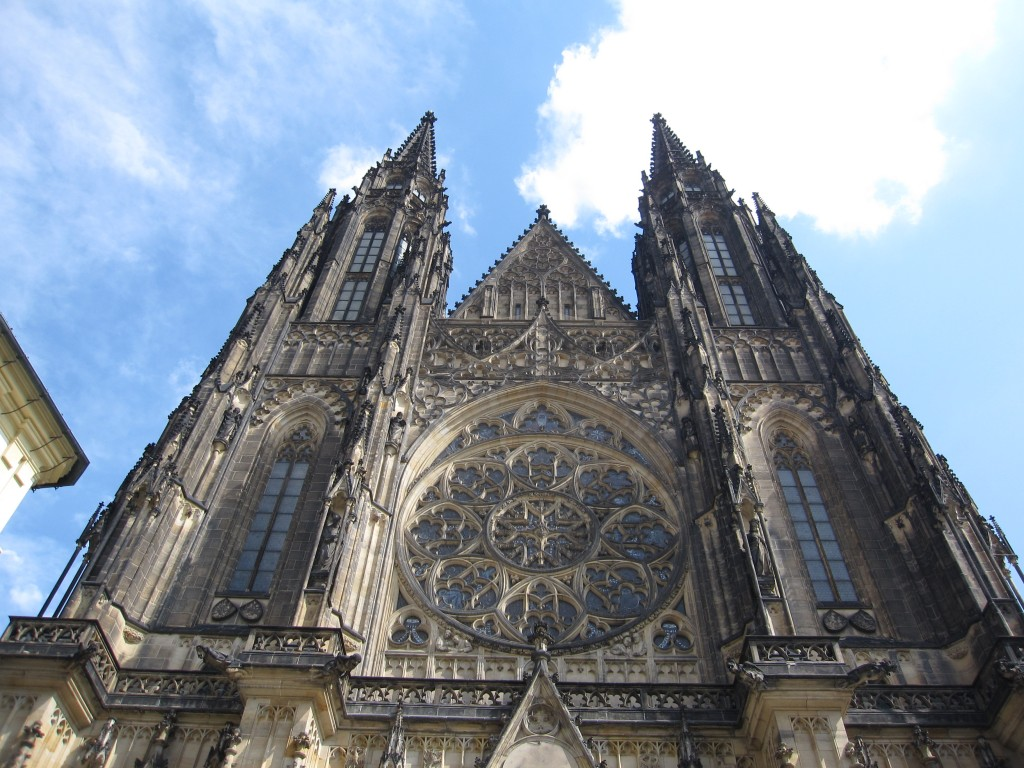 The front façade of the grand St. Vitus Cathedral